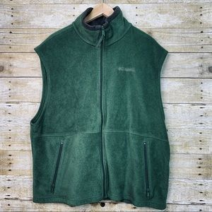 Columbia Fleece Vest Zip Up Green Brown